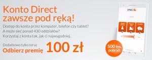 100 zł za otwarcie Konta Direct w ING
