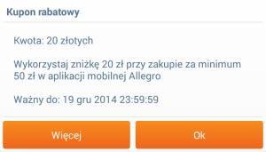 Kolejne 20 zł zniżki na Allegro przy zakupach za minimum 50 zł.