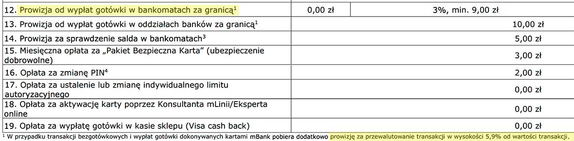 mBank: prowizja za przewalutowanie