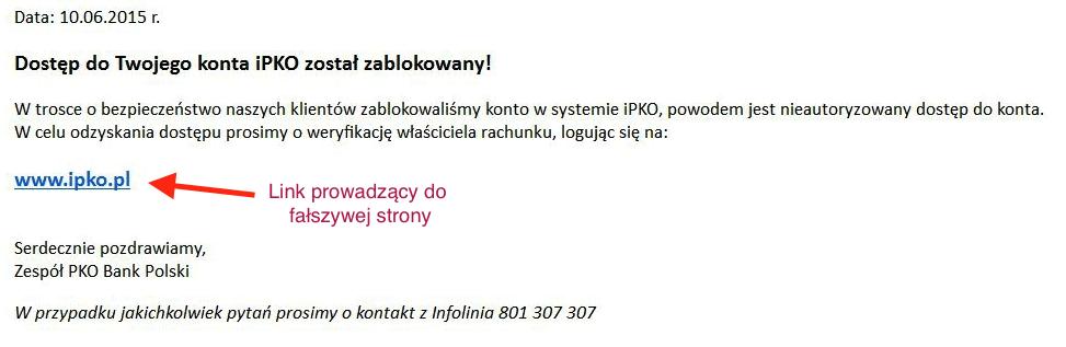 Atak na klientów PKO BP