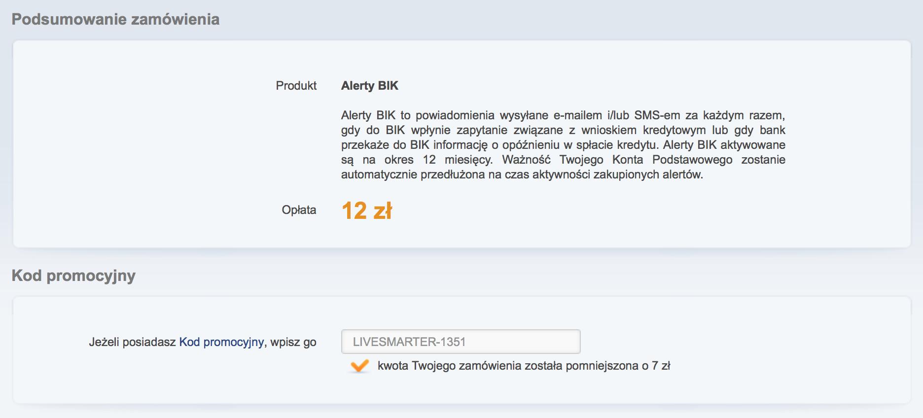 Kod rabatowy Alerty BIK - LiveSmarter