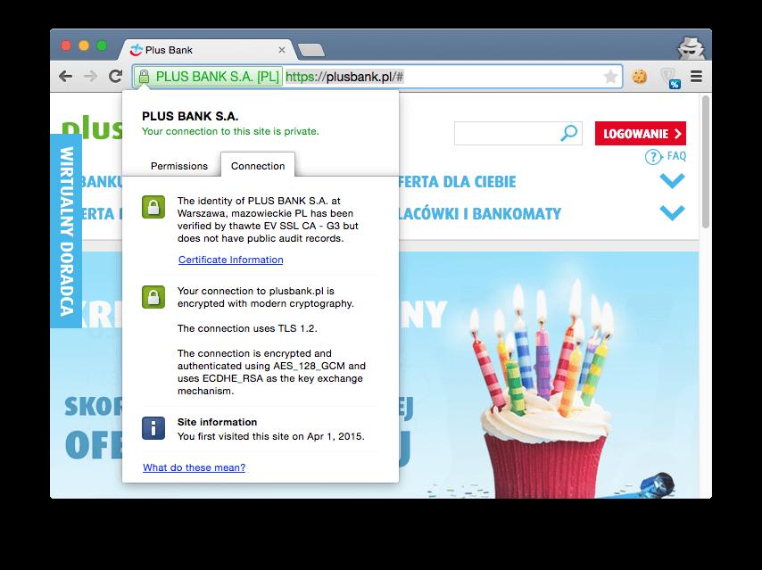 Plus Bank - certyfikat SSL