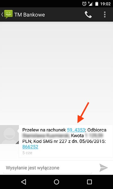 Numer rachunku na potwierdzeniu SMS