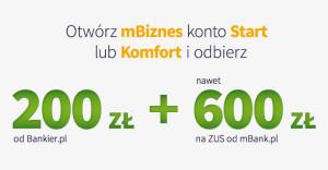 mBank i Bankier: promocja 200 zł + 600 zł za założenie mBiznes konta przedłużona
