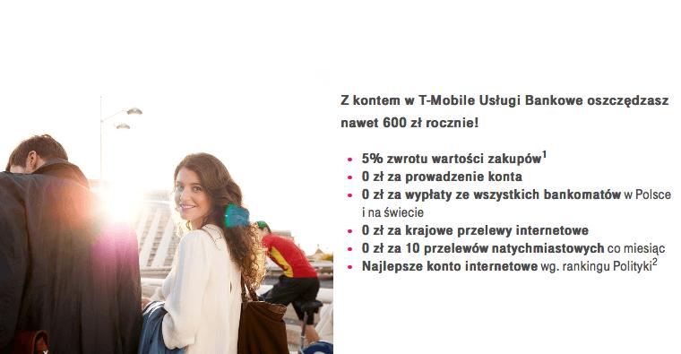 5% moneyback w T-Mobile Usługi Bankowe