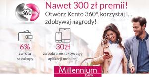 Do 300 zł moneybacku za założenie Konta 360° Banku Millennium