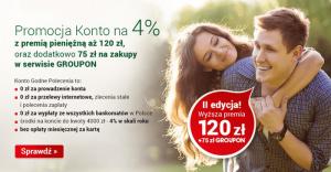 120 zł + 75 zł do wykorzystania na grouponie za założenie Konta Godnego Polecenia 4%