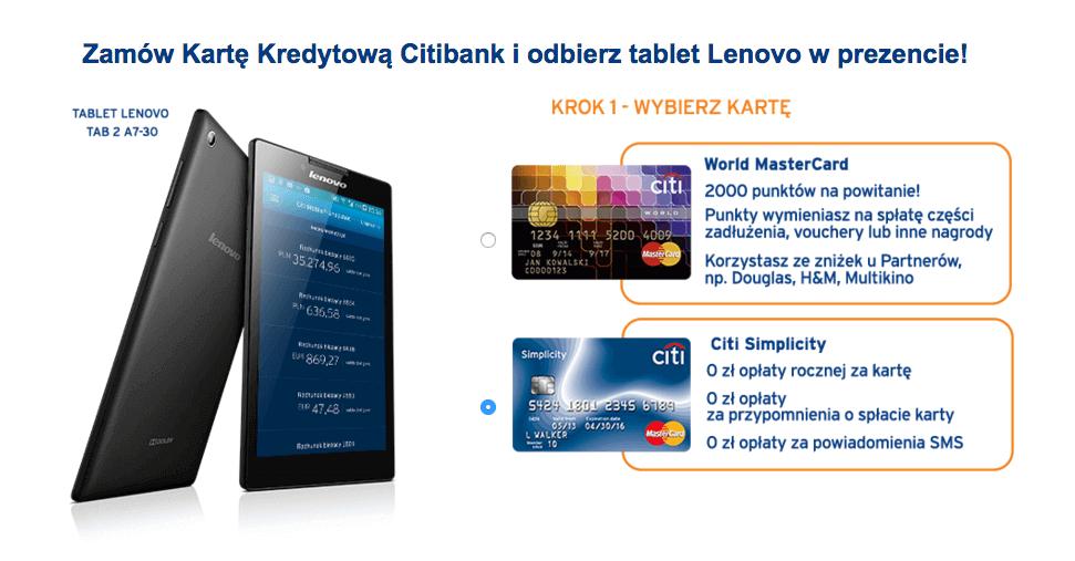 Karta kredytowa Simplicity z tabletem Lenovo gratis
