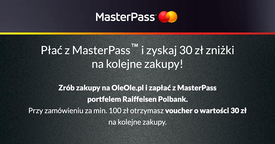 Kod rabatowy 30 zł do OleOle za płatność MasterPass