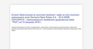 Zmiana tabeli opłat w Deutsche Banku od 15 listopada 2016. Zapłacimy za wypłaty z bankomatów i konto db Open