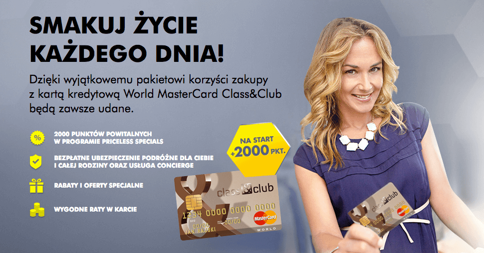 2000 punktów MasterCard Priceless Specials za kartę Class Club