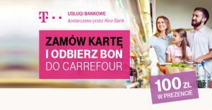 Bon 100 zł do wydania w Carrefour za wyrobienie karty kredytowej T-Mobile + 2000 punktów Specials