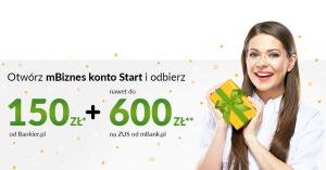 150 zł za założenie mBiznes konta i do 600 zł na ZUS w promocji Bankier.pl