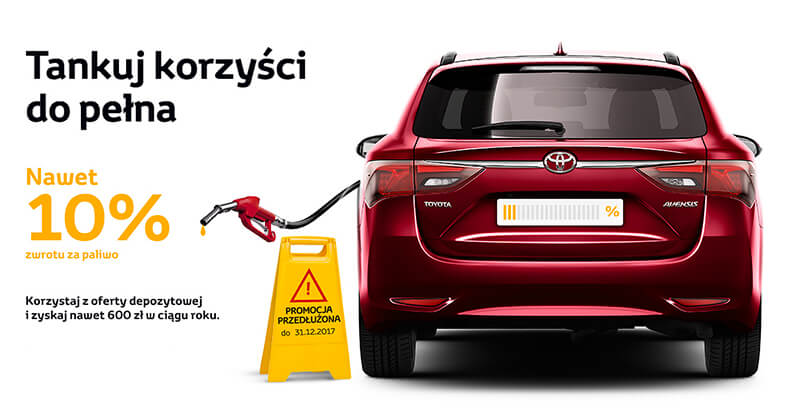 10% zwrotu na stacjach paliw w Toyota Bank