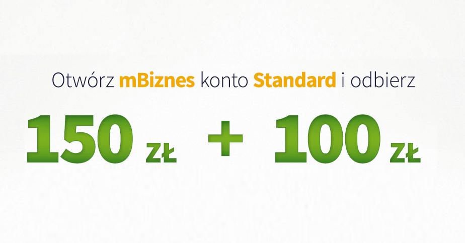 150 + 100 zł za założenie mBiznes konta Standard w mBanku od bankier.pl