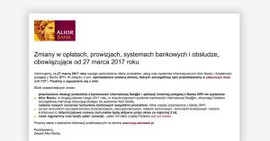 Alior Bank: zmiana tabeli opłat od marca 2017. Podwyżki, migracja klientów BPH i obcięcie cashbacku do 1,5%