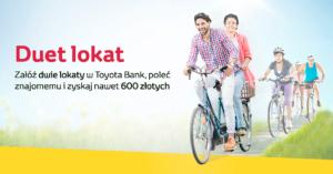 Toyota Bank: 140 zł premii za założenie lokat 2,3% i 2,5% dla nowych, 70 zł dla obecnych klientów i 50 zł za polecenie