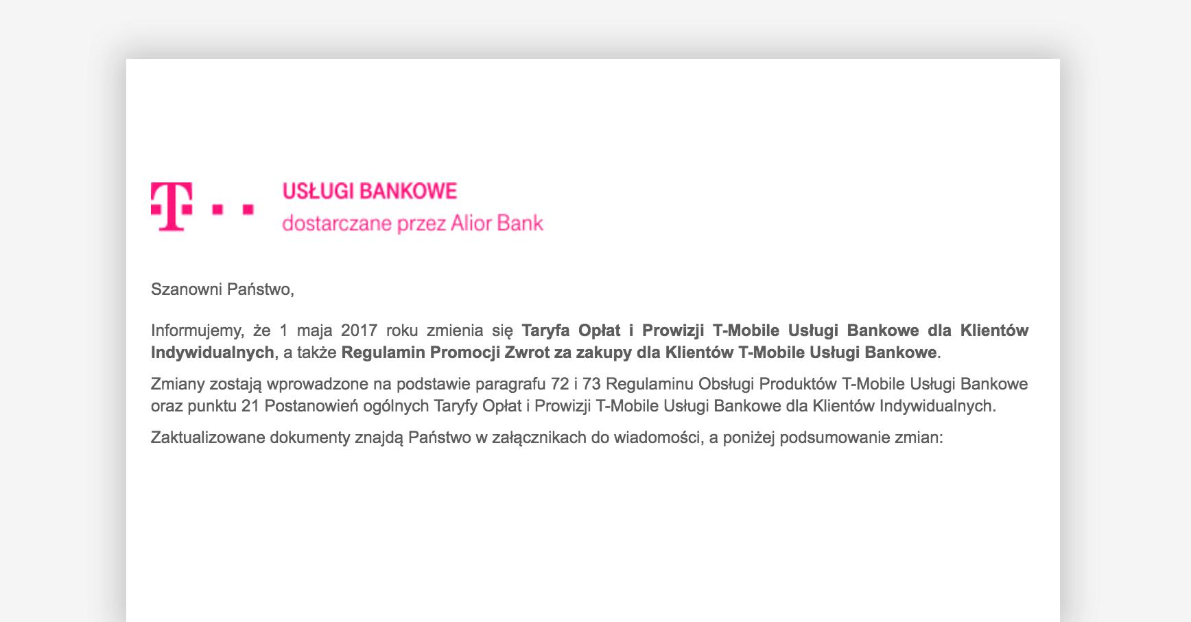 Zamiana tabeli opłat i moneybacku w T-Mobile od maja 2017