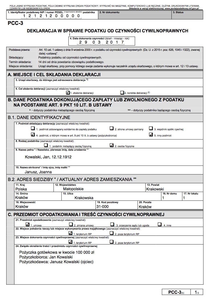 Deklaracja PCC-3 - przykład wypełnienia pożyczki w rodzinie bez podatku