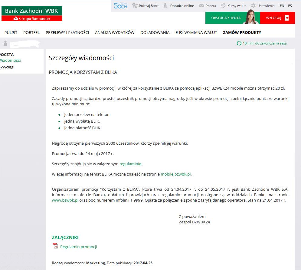 BZWBK - promocja korzystam z blika z premią 20 zł