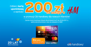 Citibank: 200 zł do H&M, Sphinx lub 23 000 punktów Payback za wyrobienie karty kredytowej