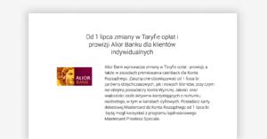Zmiany w Alior Banku: ponowne obcięcie cashbacku i płatne wypłaty poniżej 100 zł!