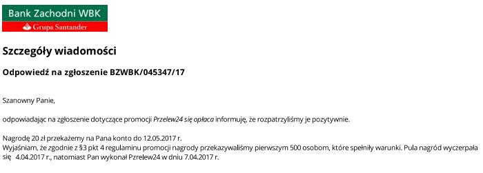Odpowiedź na reklamację w sprawie promocji 20 zł za Przelew24