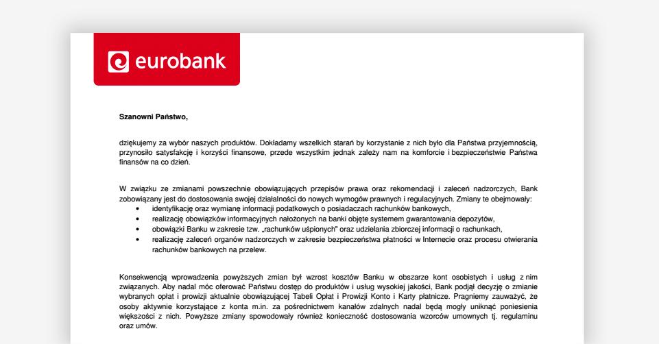 Zmiana tabeli opłat w Eurobanku od 1 sierpnia 2017