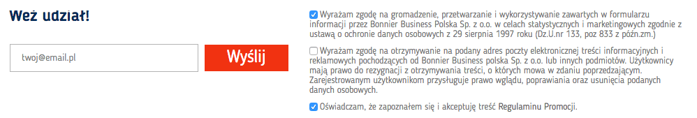 Zgody marketingowe za założenie eKonta w promocji Bankier.pl 800 zł