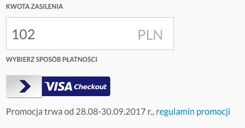 Doładowanie konta SkyCash Visa Checkout