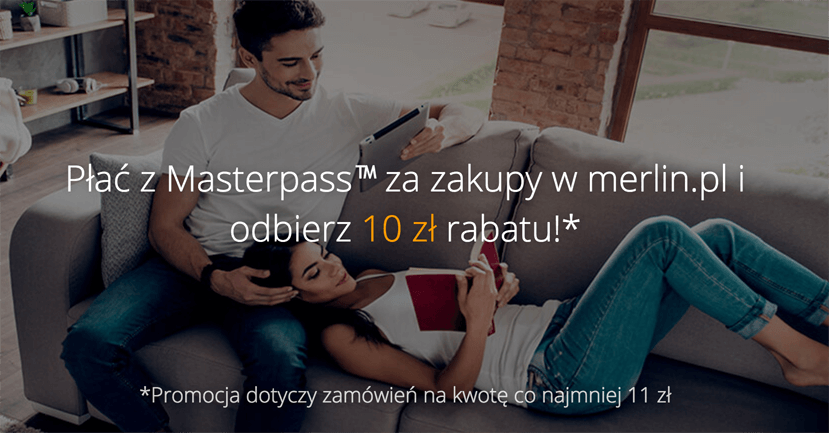 10 zł rabatu na Merlin.pl przy zamówieniu za min. 11 zł opłaconym MasterPass