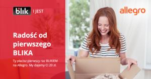 20 zł rabatu na Allegro za pierwszą płatnośćBLIK