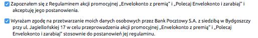 Zgody w promocji EnveloBanku 100 zł premii