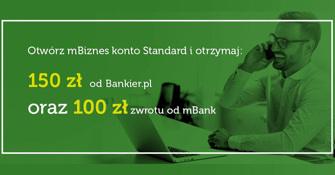250 zł za założenie mBiznes Konta Standard od mBank i Bankier.pl