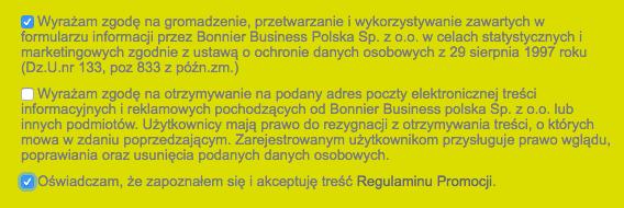 Wymagane zgody w promocji Bankier.pl i mBank 150 + 100 zł premii