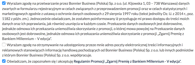 350 zł za założenie Konta 360 Banku Millennium - zgody marketingowe