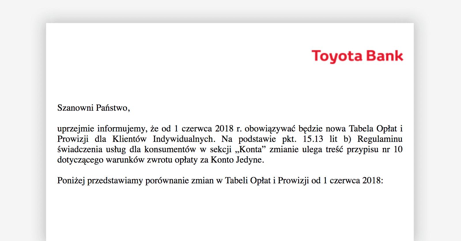 Zmiana tabeli opłat i prowizji w Toyota Banku od 1.06.2018