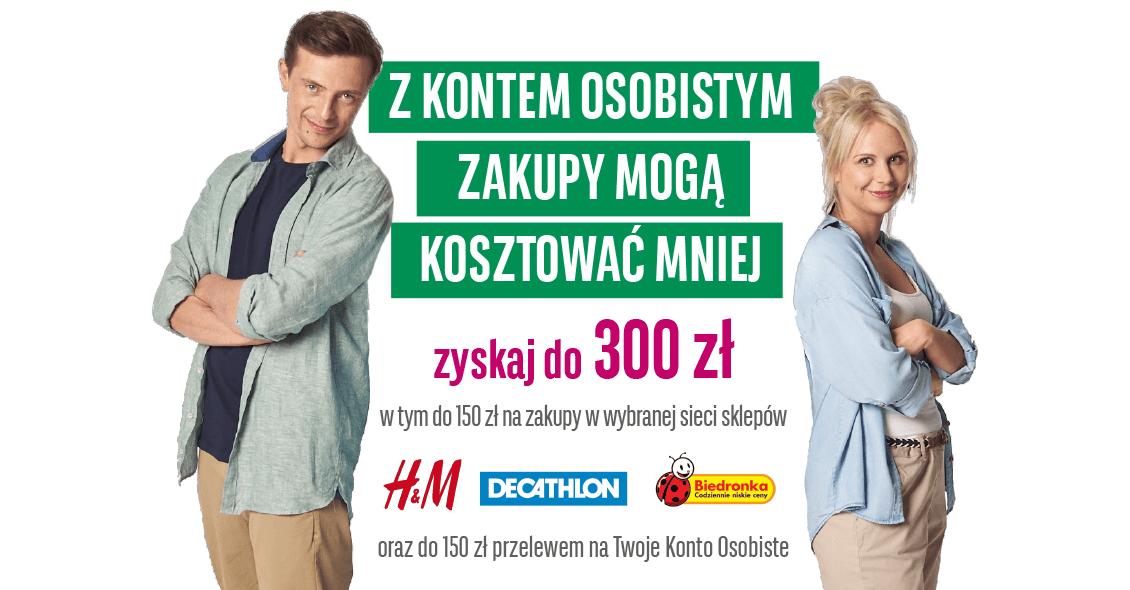 150 zł w gotówce + 150 zł do Biedronki, Decathlona lub H&M za otwarcie konta w BGŻ BNP Paribas!