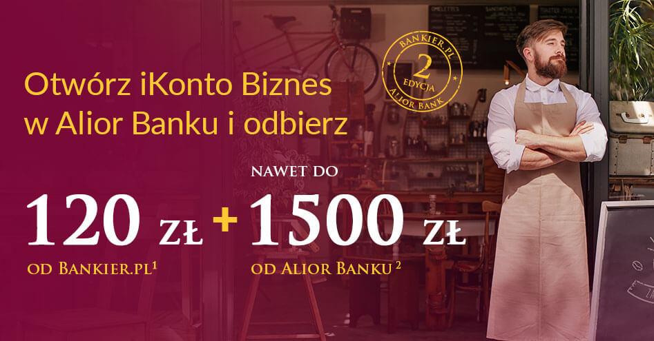 120 zł od Bankier.pl za założenie iKonta Biznes i do 1500 zł w formie premii za aktywność w Alior Banku