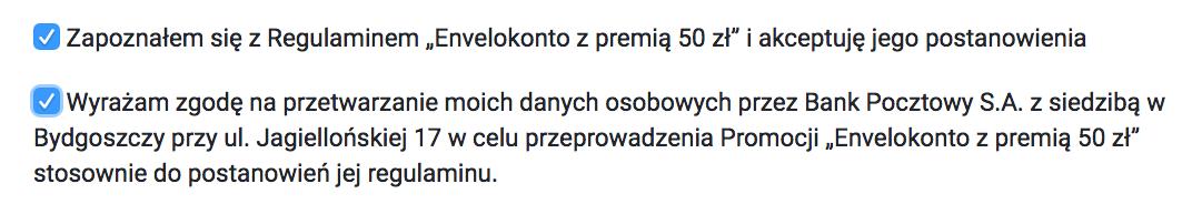 Wymagane zgody do założenia EnveloKonta w promocji z premią50 zł