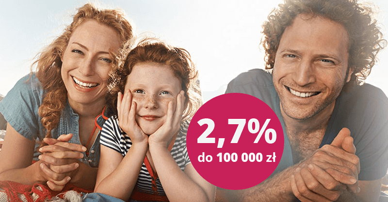 2,7% na koncie oszczędnościowym Profit do 100 000 zł