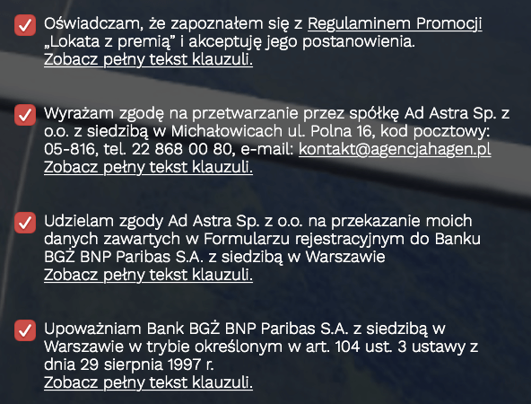 50 zł za założenie Lokaty Bezkarnej - wymagane zgody