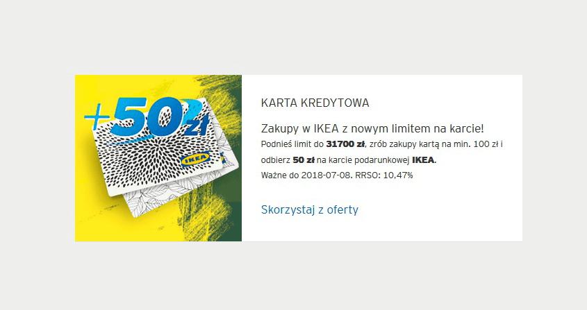 50 zł do Ikea za podniesienie limitu na karcie kredytowej Citi Simplicity od Citibanku