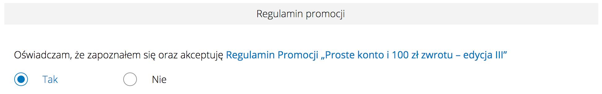 Akceptacja regulaminu w promocji mBanku mBiznes Konto Standard + 100 zł