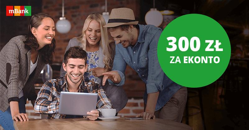 300 zł bonusu za założenie eKonta promocyjnego mBank
