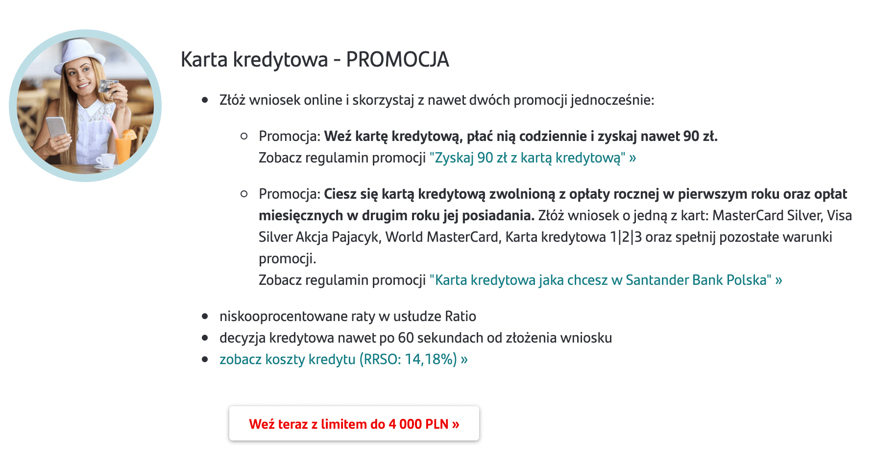 Santander Bank Polska - propozycja promocyjnej karty kredytowej