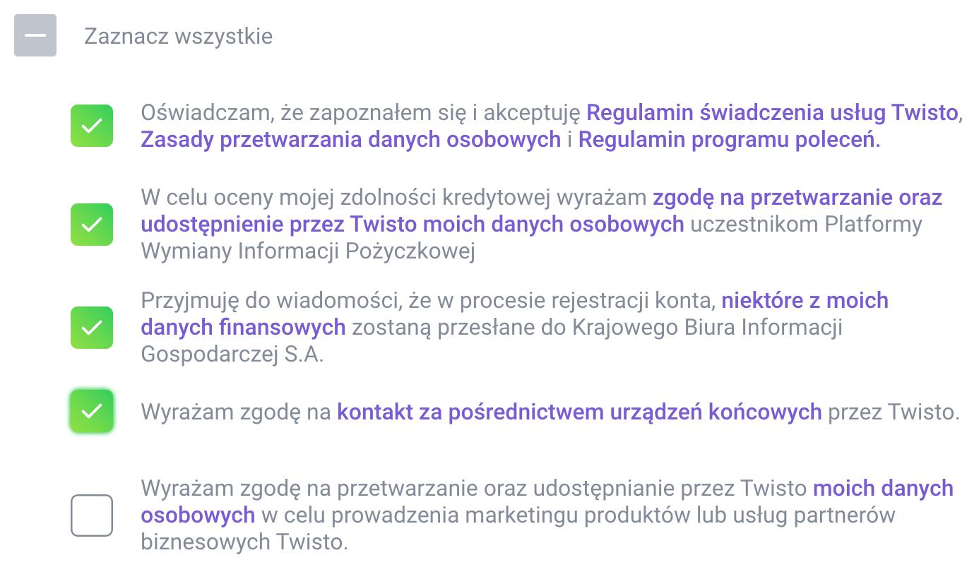Twisto - wymagane zgody do 100 zł premii