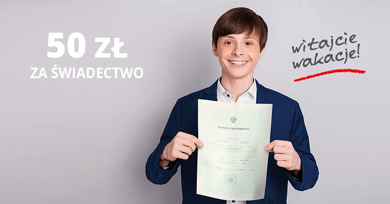 50 zł dla uczniów za świadectwo ze średnią min. 4,0 od Santander Bank Polska (+200 zł dla rodzica)