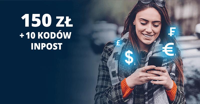 150 zł w gotówce i 10 kodów na przesyłki Inpost za założenie CitiKonta + 300 zł za kartę kredytową