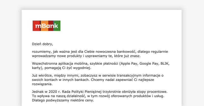 Zmiana tabeli opłat i prowizji w mBanku